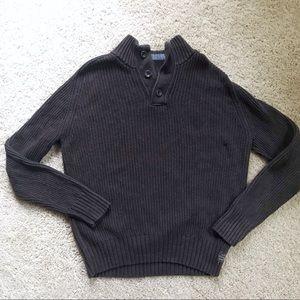 AE Dark Brown Button-Collar Sweater